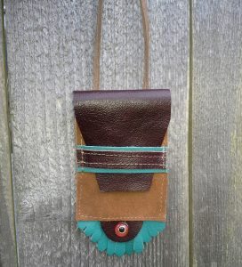 leather stash bag necklace